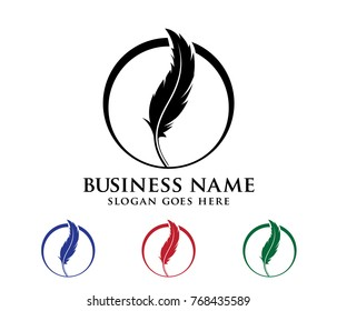 colorful art detailed feather logo