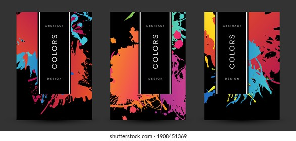 Colorful artistic poaters with paint splash decoration elements.  Abstract creative design. Backgrounds collection with hand drawn texture.