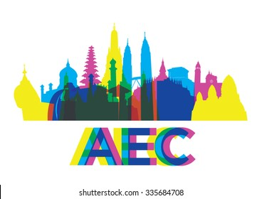 Colorful ASEAN landmark. vector