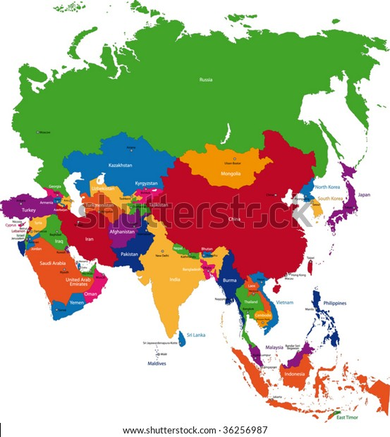 Map Of Asia Countries And Capitals.Colorful Asia Map Countries Capital Cities Stock Vector