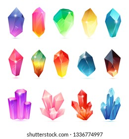 Colorful assorted crystals set. Crystalline gemstone. Magic semiprecious stones collection. Set of jewel or mineral stony crystallization of natural quartz