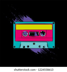 Colorful audio music cassette. Vector illustration. Hand drawn.