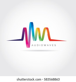 Colorful Audio Waves Logo Symbol Icon