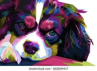 colorful Australian Shepherd dog head with cool isolated pop art style backround. WPAP style