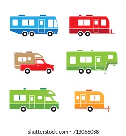 Colorful auto RVs, Camper cars / Camping vans, Truck Trailers, recreational vehicles vector flat design icons, retro clipart isolated on white background