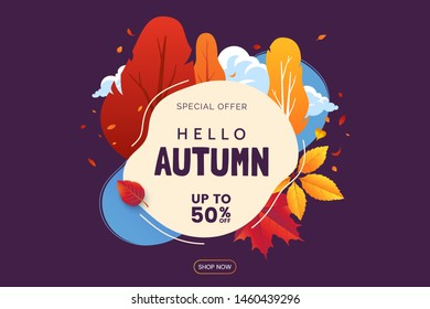 Colorful Autumn banner. Falling leaves and trees with bright colored foliage. Fall card design. Promo illustration for Autumn Sale. Vector eps 10.