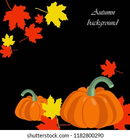 Colorful autumn foliage vector banner with pumpkins. Discount design.