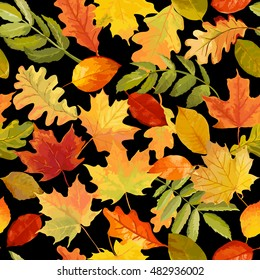 Colorful Autumn Leaves Background - Seamless Pattern - in Watercolor Style - Vector