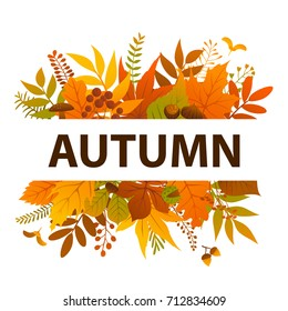 colorful autumn leaves bush twigs branches plants banner background