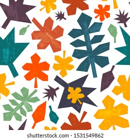 Colorful autumn leaves falling down. Seamless pattern. Vector illustration