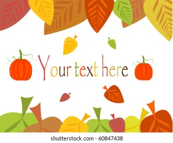 Colorful autumn leaves frame with pumpkins. Vector illustration