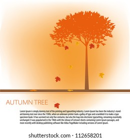 Colorful autumn tree with space for your text made of colorful dots in bright autumn colors. Use of global color swatches.
