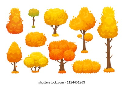 Colorful autumn trees. Cartoon yellow orange fall tree and autumnal garden bush icon with fall season gold leaves for city park and forest landscape background vector isolated symbol set