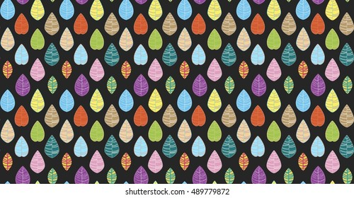 Colorful autumn vector leaves seamless pattern on black background.