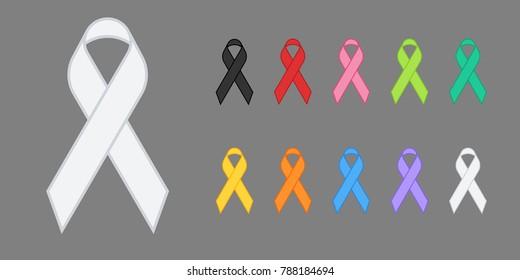 Colorful Awareness Ribbons Design Element Banner Emblem Sign Symbol Vector Illustration Various Colors on Transparent Background