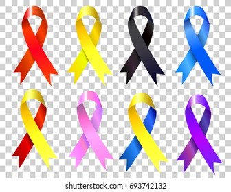 Colorful awareness ribbons.Tapes on transparent background. vector illustration. vector