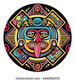 colorful aztec decorative vector illustration. traditional ethnic ornament