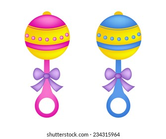 Colorful baby rattles in pink and blue with ribbon bow / baby toys illustration isolated on white background
