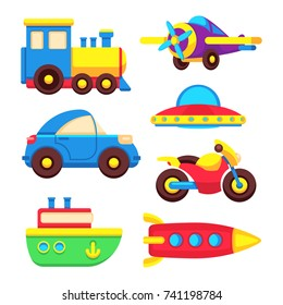Colorful baby toy transport set isolated on white background. Vector illustration