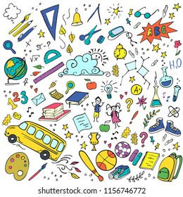 Colorful Back to school doodles set. Vector illustration. Perfect for textile fabric design, wrapping paper and website wallpapers.