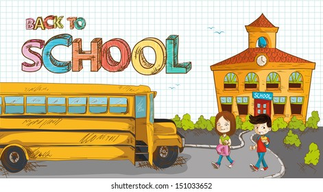 Colorful back to school text, cartoon kids walking to bus from school illustration. Vector file layered for easy editing.
