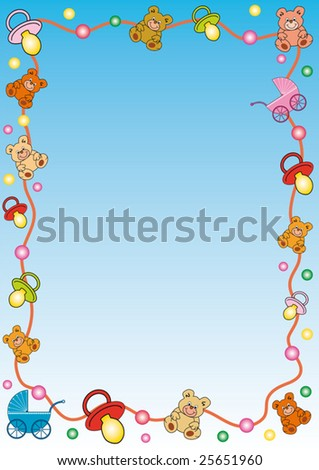 Colorful Background Border Out Toys Baby Stock Vector Royalty Free
