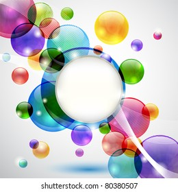 Colorful background with bubbles, lights, waves and copy space