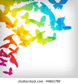 Colorful Background with Butterfly - Vector Illustration