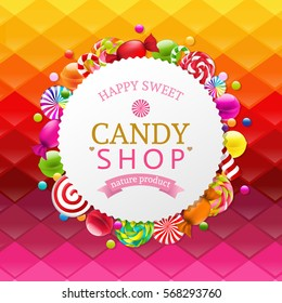 Colorful Background With Candy Banner With Gradient Mesh, Vector Illustration