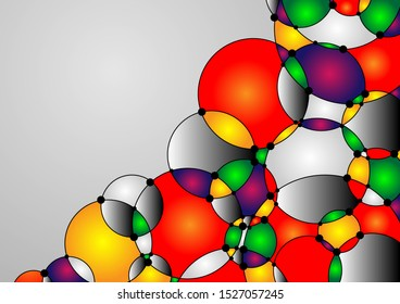 Colorful background with circles and copy space