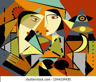 Colorful background, cubism art style,abstract portrait , two girls