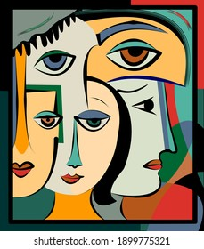 Colorful background, cubism art style,abstracts portraits