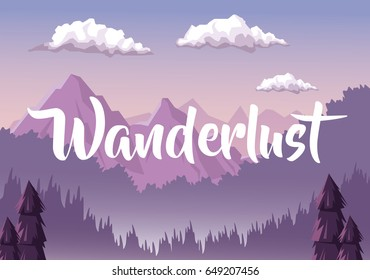 colorful background with dawn landscape with mountain valley covered by haze with text wanderlust