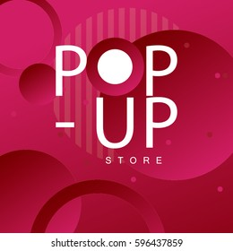 Colorful background design with round shape/ Abstract background vector art/ Pop-up store lettering design