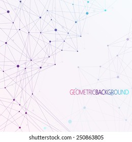 Colorful background dots with connections.  Graphic background for your design and your text.