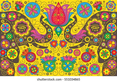 Colorful background with elephants. Vector illustration. Symmetrical mirrored yellow background.