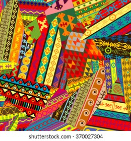Colorful background with ethnic ornaments patches