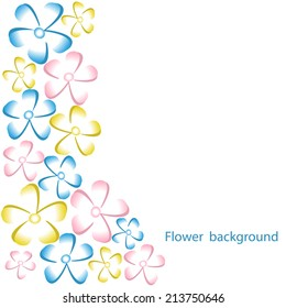 Colorful background with flowers on  white.  Vector illustration