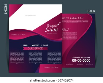 Colorful background and flyer for Salon industry