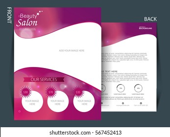 Colorful background and flyer for Saloon industry