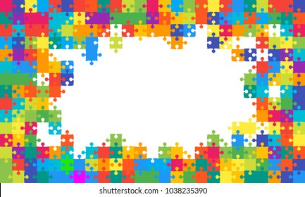 Colorful Background Frame Puzzle. Banner Presentation. Jigsaw Puzzle Banner. Vector Illustration Template Shape. Abstract Rectangle Multicolor Puzzle Background. Frame Puzzle Game, Mosaic, Tiles.