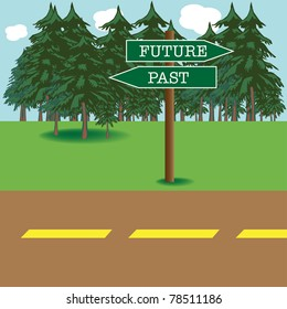 Colorful background with future and past street signs indicating two opposite directions