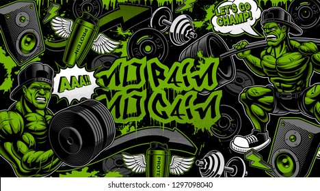 Colorful background for the gym in graffiti style with bodybuilders, and cartoony illustrations.