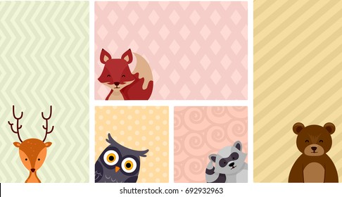 Colorful Background Illustration Featuring Common Woodland Animals Like Deer, Foxes, Owls, Raccoons, and Brown Bears