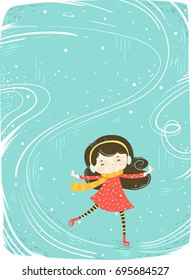 Colorful Background Illustration Featuring a Cute Little Girl in Winter Clothes Skating on Ice