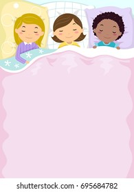 Colorful Background Illustration Featuring Cute Little Girls Sleeping Peacefully Side by Side