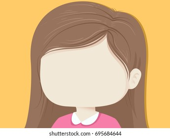 Colorful Background Illustration Featuring a Little Girl With a Blank Face