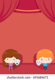 Colorful Background Illustration Featuring a Little Boy and a Little Girl Holding Theater Masks