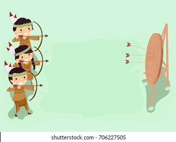 Colorful Background Illustration Featuring Stickman Kids in Native American Costumes Practicing Their Archery Skills