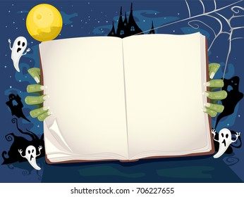 Colorful Background Illustration Featuring a Zombie Holding an Open Book While Ghosts Play Around in the Background